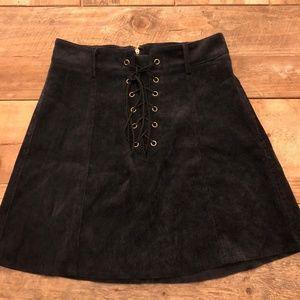 LF Black Lace Up Skirt